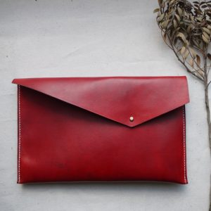 Asymmetric Red Hand Dyed Leather Clutch, Holiday Gifts for Women