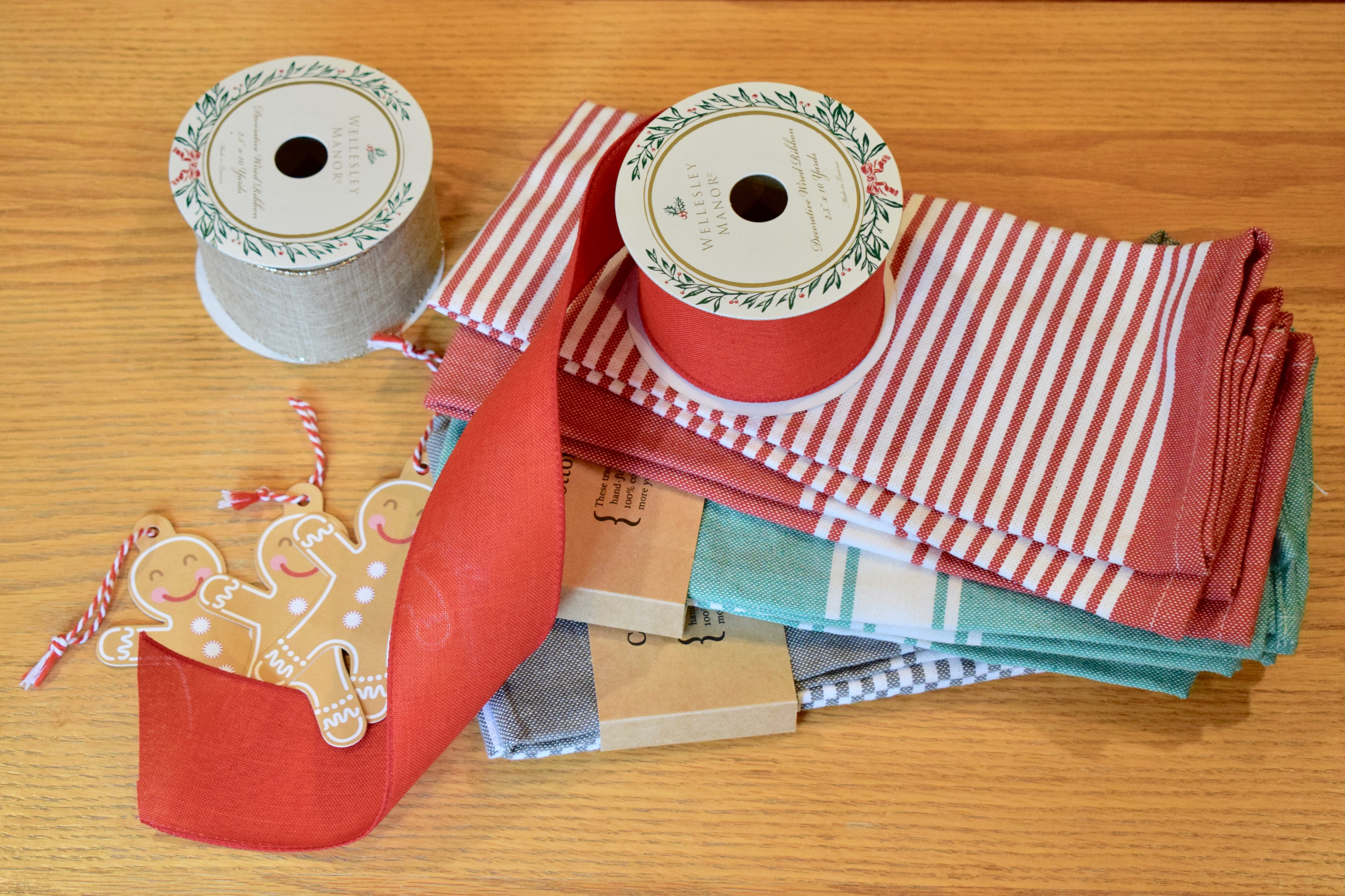 Supplies Needed for Wrapping Gifts in Kitchen Towels, Reusable Gift Wrapping