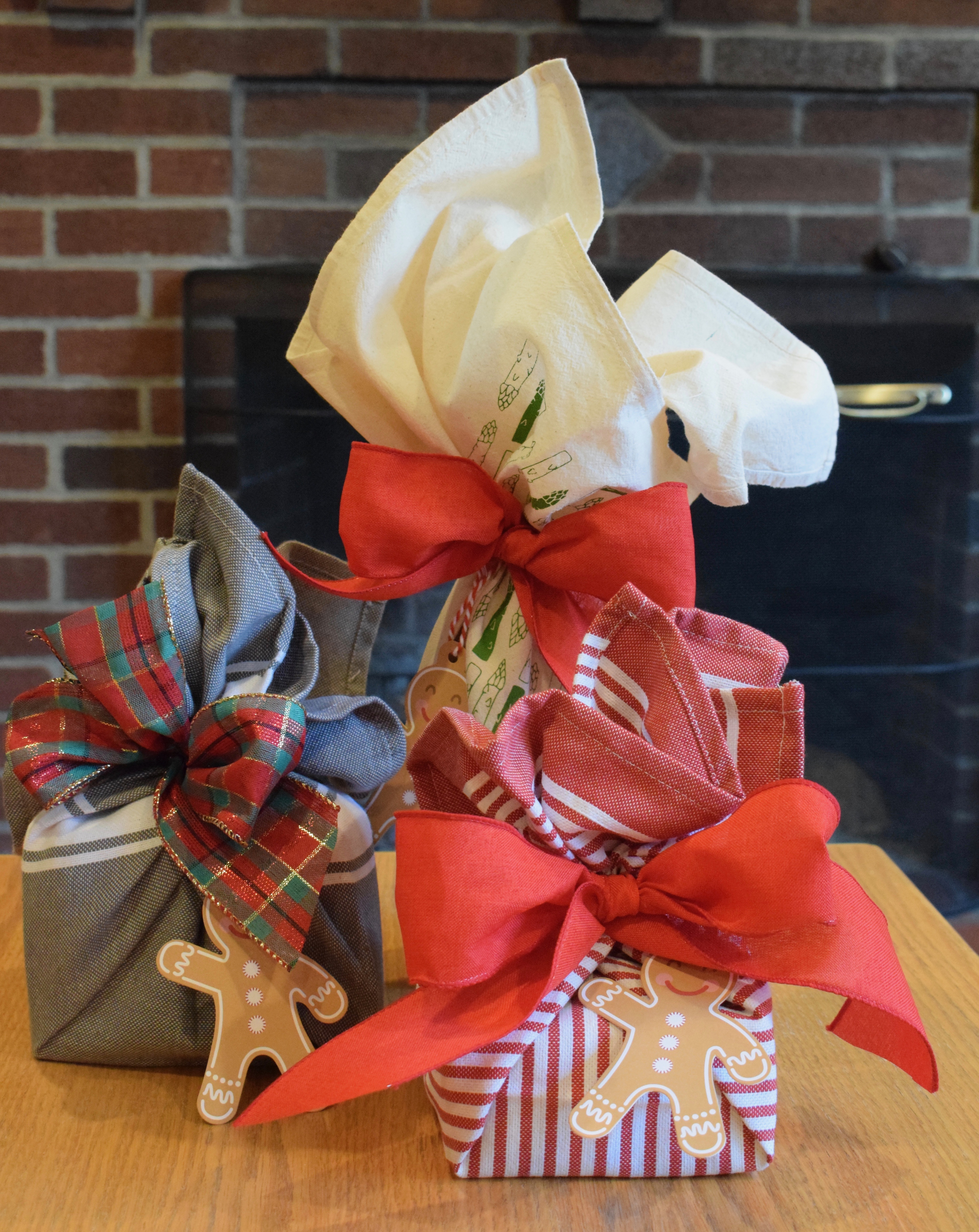 Gifts Wrapped in Kitchen Towels, Reusable Gift Wrapping